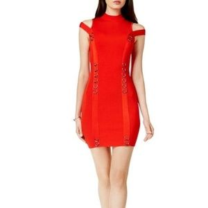 GUESS Bodycon Fitted Knit Dress Red XL